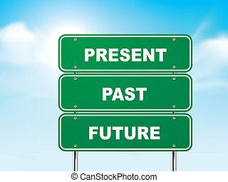 3d, segno strada, con, presente, passato, e, futuro