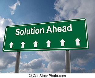 3d, segno strada, concept., soluzione, avanti