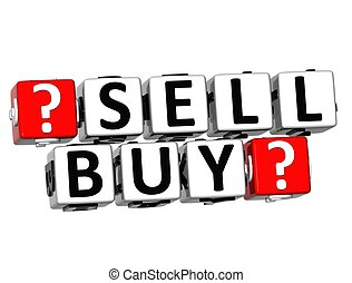 3D Sell Buy Button Click Here Block Text