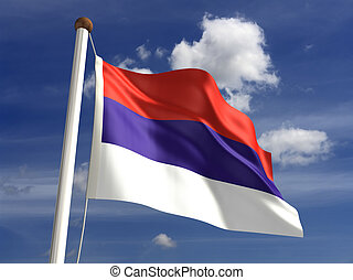 Serbia flag (with clipping path)
