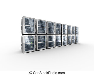 3d servers on the white background