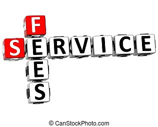 3D Service Fees Crossword on white backgound