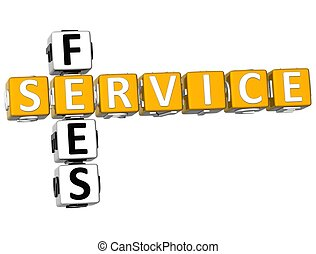 3D Service Fees Crossword on white background