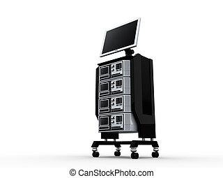 3d, servidores, e, monitor