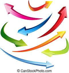 3d set arrows vector illustration colorful clipart