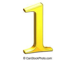 3D Set Gold Number on white background