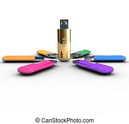 3d set of colored and gold USB flash drive on a white background