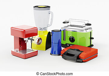 3d set of home appliances on white background