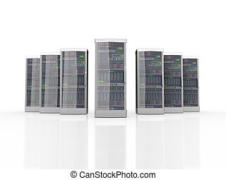 3d set of powerful computer network servers