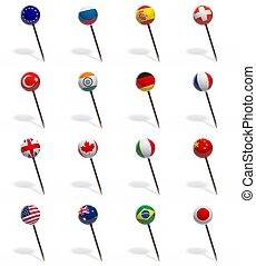 3D set of pushpins with flags of various countries