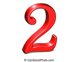 3D Set red number on white background