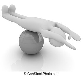 3d, s'exercer homme, position, sur, fitness, ball., mon, plus grand, pilates, série