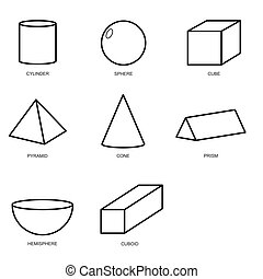 3d shape set isolated on white background vector. illustration eps10