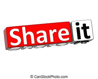 3D Share it over white background
