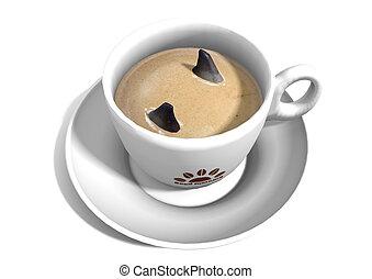 3D Shark Fins in Coffee