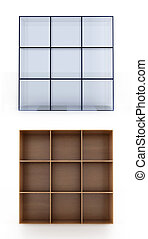 3D shelves on white background. Glass and wood material