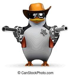 3d Sheriff penguin