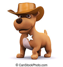 3d Sheriff puppy - 3d render of a dog dressed as a cowboy