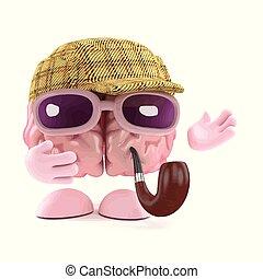 3d Sherlock brain - 3d render of brain dressed as Sherlock...