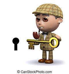 3d Sherlock has the key - 3d render of Sherlock with a key