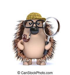 3d Sherlock hedgehog - 3d render of a hedgehog with a...