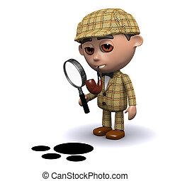 3d Sherlock is on the trail - 3d render of Sherlock using a...