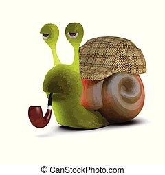 3d Sherlock Snail - 3d render of a snail wearing a...