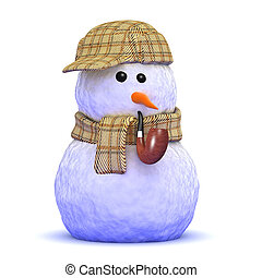 3d Sherlock snowman - 3d render of a snowman wearing a tweed...