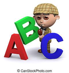 3d Sherlock teaches the alphabet