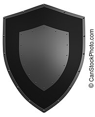 3d shield - 3d rendered illustration of a metal shield