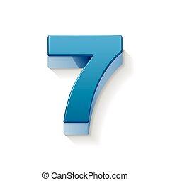 3d shiny blue number 7 - 3D image shiny blue number 7...