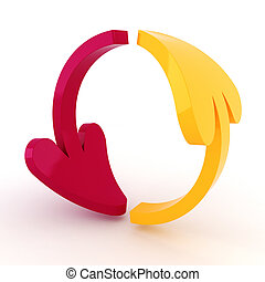 3d shiny colorful arrows on white background
