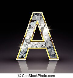 3d shiny diamond letter A