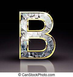 3d shiny diamond letter B