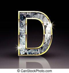 3d shiny diamond letter D