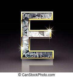 3d shiny diamond letter E