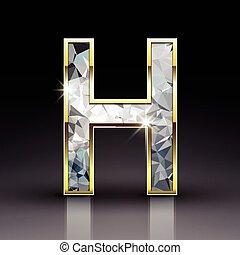 3d shiny diamond letter H