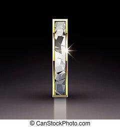 3d shiny diamond letter I