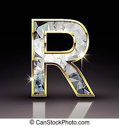 3d shiny diamond letter R