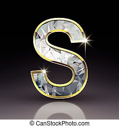 3d shiny diamond letter S