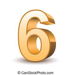 3d shiny golden number 6