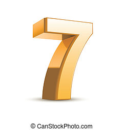 3d shiny golden number 7 on white background