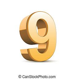 3d shiny golden number 9