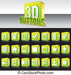 3D Shiny Green Buttons for Website or Apps. Vector