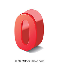 3d shiny red number 0 isolated on white background