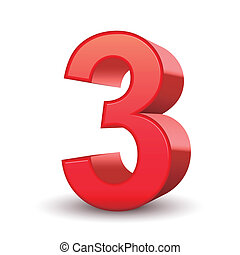 3d shiny red number 3 isolated white background