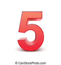 3d shiny red number 5 on white background
