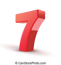 3d shiny red number 7 on white background