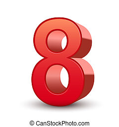 3d shiny red number 8 isolated white background