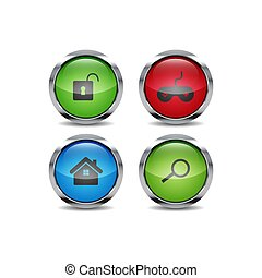 3D Shiny ui circle button style vector icon set design